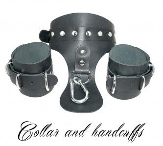 Collar And Handcuffs Attached By Carabiner Black